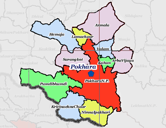 The 10 VDC's being added are shown here in paler colours surrounding the original Pokhara Municipality coloured in red