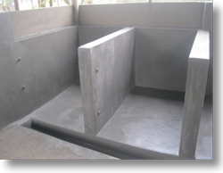 Individual kennels skimmed with concrete