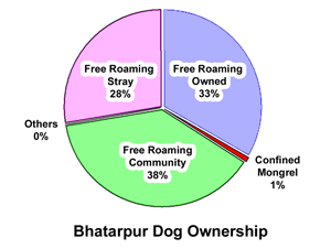 Pie chart showing breakdown of roaming dog ownership
