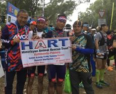 L-R:  Ramesh, Suman and Tirtha await the start of the race