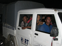 After a very long day the HART crew and local helpers set off from the camp