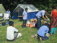 Pre-med, operating & recovery tents were set up in Kopan