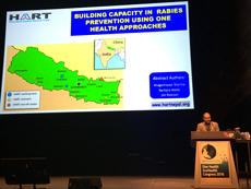 Khageshwaar Sharma on stage for one of his One Health EcoHealth Conference presentations