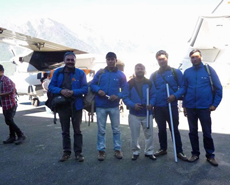 The HART staff disembark at Lukla airstrip
