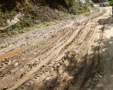 Muddy roads can make access difficult during the monsoon season