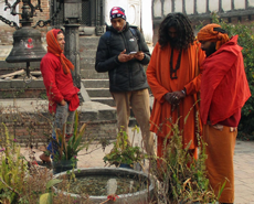 GP Dahal with some of the sadhus at Pashupatinath Temple