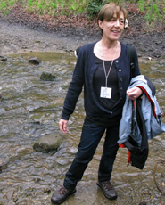 A rather damp Anne Clarke emerges from a stream crossing on the 2015 Pike Hike