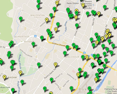 A small section of the PKR census map - locations of spayed female dogs shown by green markers, non-spayed by yellow