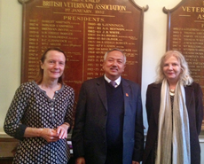(L-R) Helena Cotton, Professor Dhakal and Barbara Webb at the BVA